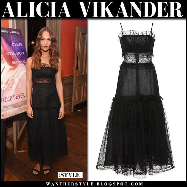 Alicia Vikander at Tulip Fever screening in black tulle dress red carpet styles august 2017