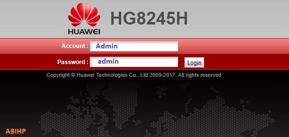 Silahkan masukkan Admin dan password admin pada modem Indihome.