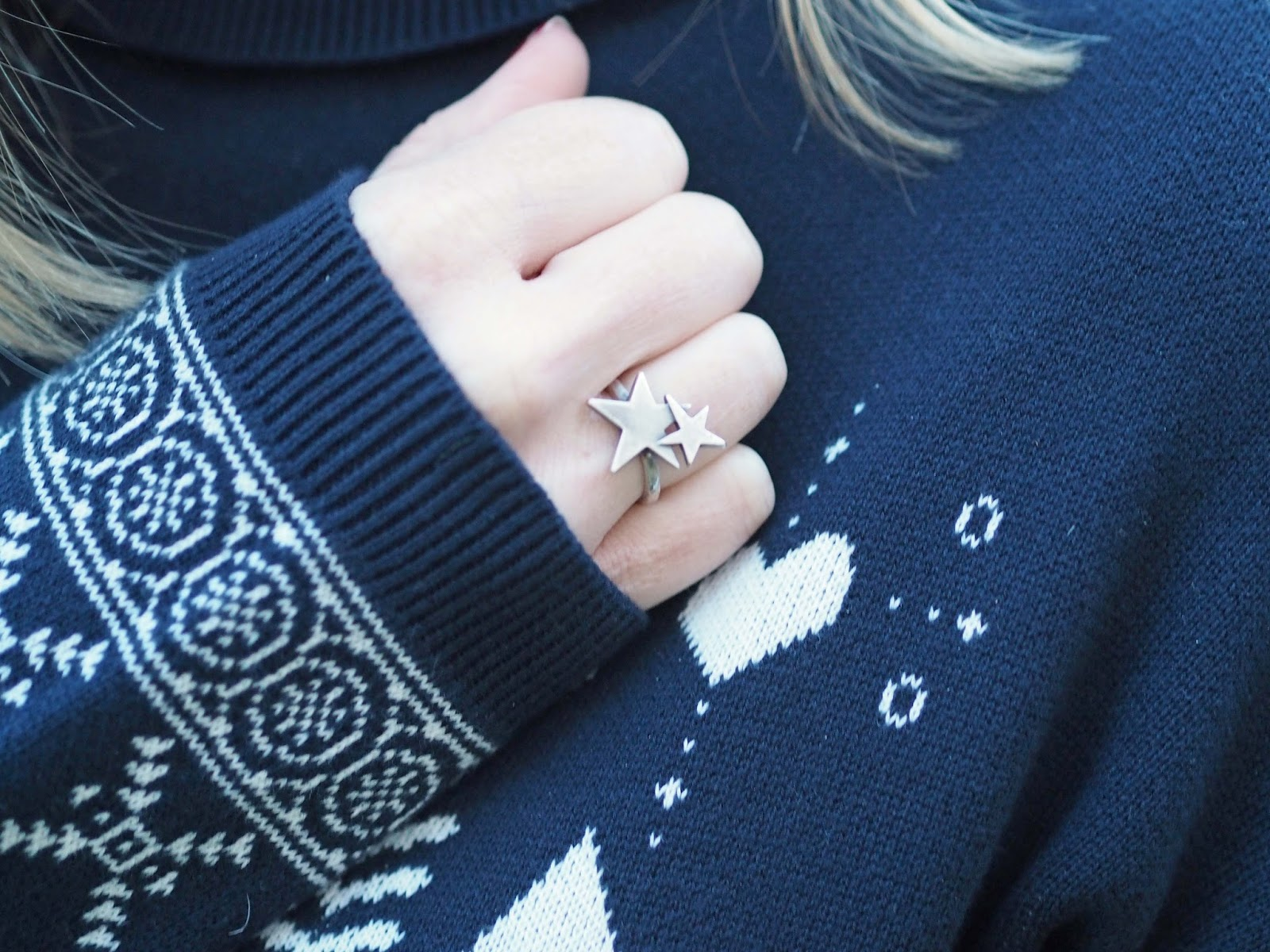 navy fairisle jumper sweater dress with Danon stars ring https://www.whatlizzyloves.com/shop/
