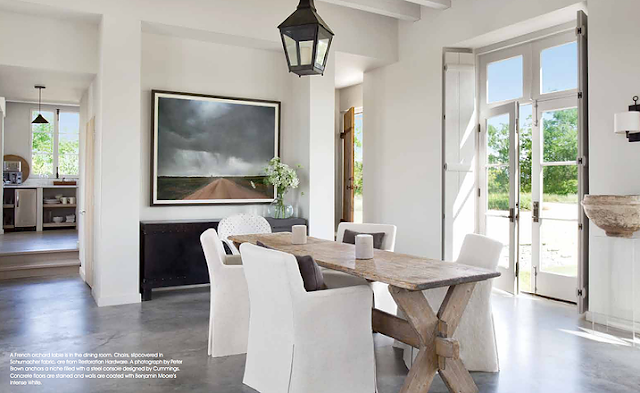Dining area in modern farmhouse by Eleanor Cummings in Round Top Texas