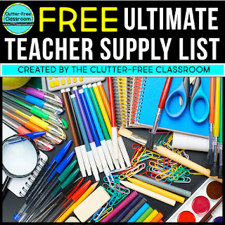 This supply list includes everything a classroom teacher needs for the first day of school and beyond. The post explains how to organize your school supplies, shares storage ideas and tells you how to collect student communal or individual supplies on the first day of school, or during open house, or meet the teacher night.