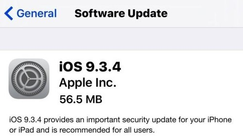 iOS 9.3.4 Updates for iPhone and iPad