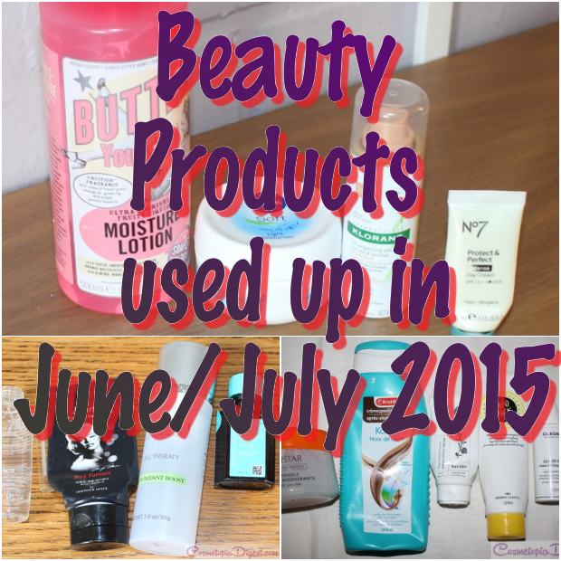 Beauty products I used up in June and July 2015 and my quick thoughts on each.