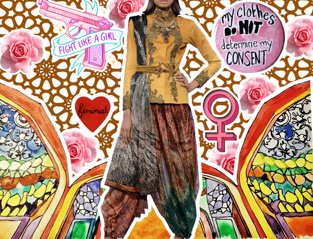 Fashion Collage Art for Ittehad textiles collaboration with Nilofer Shahid shown at the PFDC Sunsilk fashion Week 2016