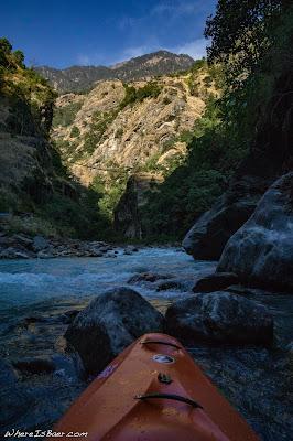 feeling small tucked into the Himalayas, huge mountains, blue river kayak zet director, Upper Marsyangdi nepal himalayas, WhereIsBaer.com Chris Baer