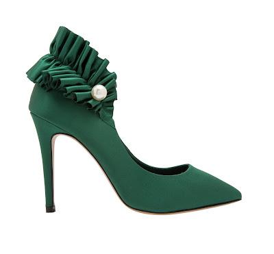 Ingie Paris Pearl Embellished Green Satin High Heeled Pumps