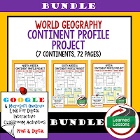 World Geography Continent Profiles, Google, Digital Interactive Notebook, Mapping Skills, Five Themes, People and Resources, United States, Canada, Europe, Latin America, Russia, Middle East, North Africa, Sub-Saharan Africa, Asia, Australia, Antarctica