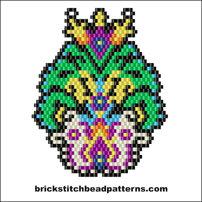 Free brick stitch seed bead earring pendant pattern color chart.