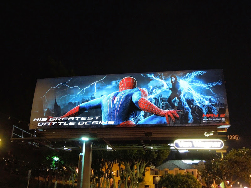 Amazing Spider-man 2 electroluminescent billboard Sunset Strip
