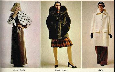 anos 70; moda década de 70, moda anos 70, Courréges; Givenchy; Cristian Dior;