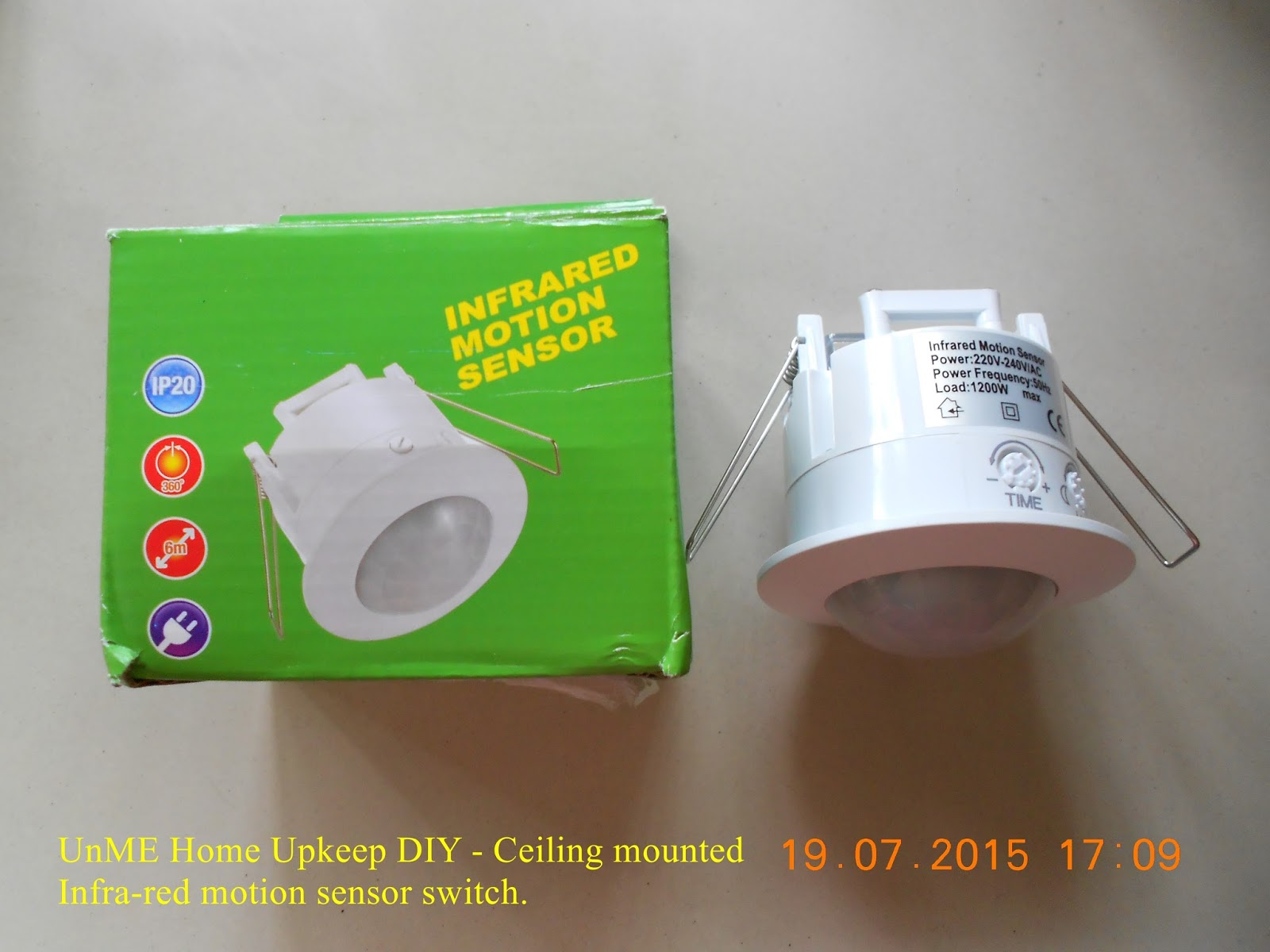Unme Home Upkeep Diy Installing Ceiling Mounted Infrared Motion Threewire System Wall Mount Automatic Ir Sensor Light Switch Dscn8567