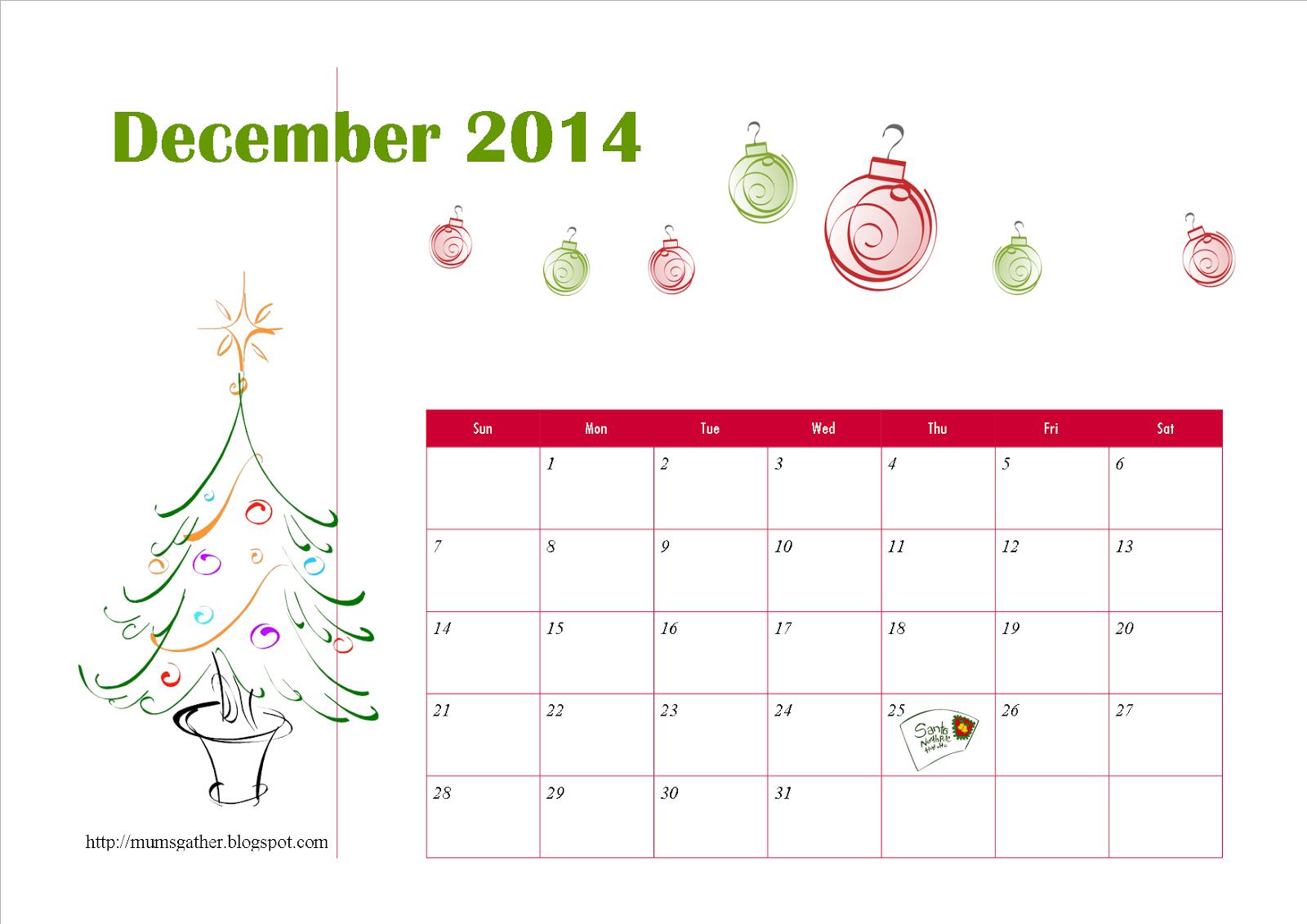 Free Printable December 2014 Calendar For Kids - Santa, Christmas Tree ...