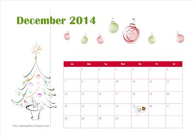 December 2014 Calendar (Christmas Tree)
