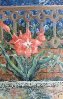 Tulipanes oleo con espátula pintor Jorge A. Marín