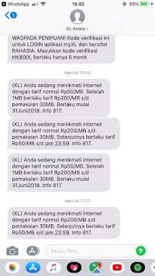 (XL) Anda sedang menikmati internet dengan tarid normal RP200/MB s/d pemakaian 30MB. Selanjutnya berlakau tarif Rp.50/MB s/d jam 23:59. Info 817