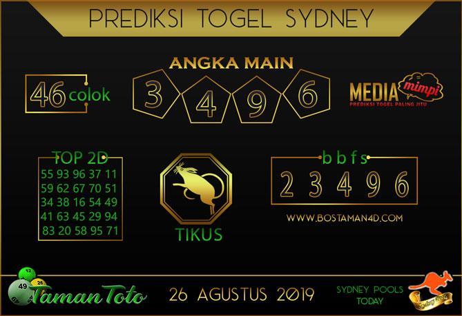 Prediksi Togel SYDNEY TAMAN TOTO 26 AGUSTUS 2019