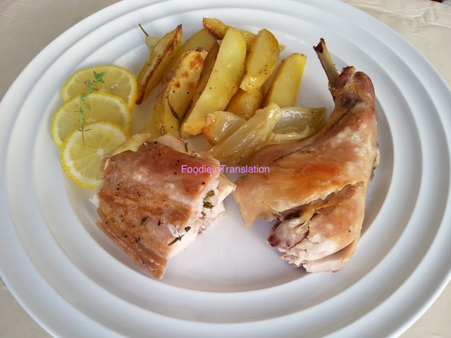 Coniglio al timo e al limone - Baked rabbit with thyme and lemon