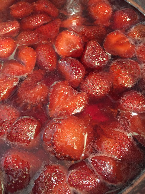 Strawberry shrub before straining