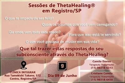 Sessões de ThetaHealing em Registro-SP neste 09/06