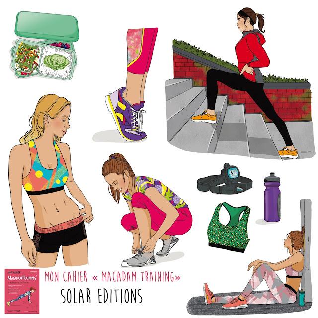 cahier explicatif illustré pour faire du sport en utilisant le mobilier urbain (banc...) pour muscler et galber le corps. illustrations femme sportive,  bien etre