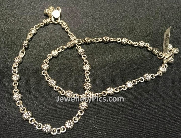 Traditional Floral Silver Pattilu Latest Jewellery Designs