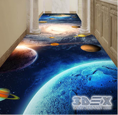 3D corridor flooring for home with epoxy paint