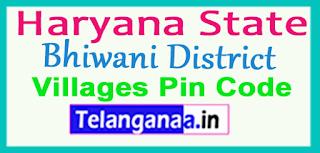 Bhiwani District Pin Codes in Haryana State