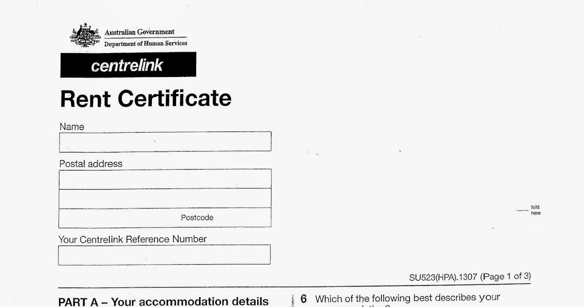 Corporate Australia Centrelink Rent Certificate form (SU523) - rental assistance form