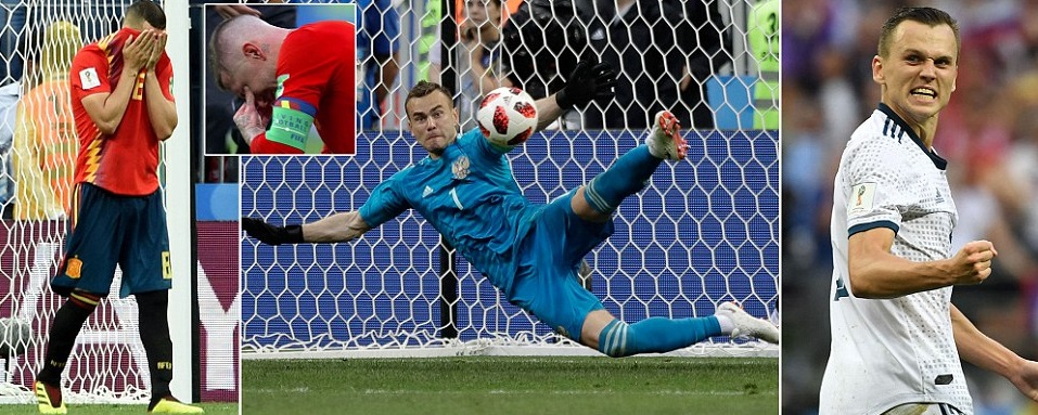Igor Akinfeev was the hero as Russia defeated Spain in the last 16 match on  penalties. Russia had to come from behind to take Spain to extra time and  than ... a01b7e98516ae