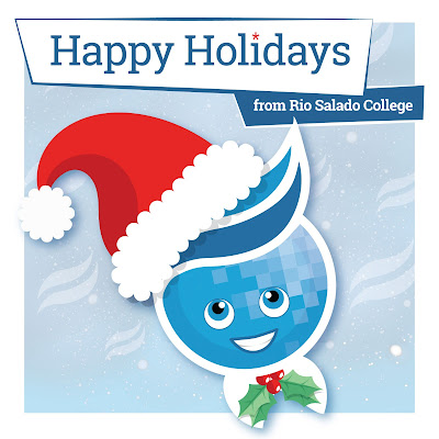 Rio mascot Splash with a red holiday hat, mistletoe bow-tie.  Text: Happy Holidays