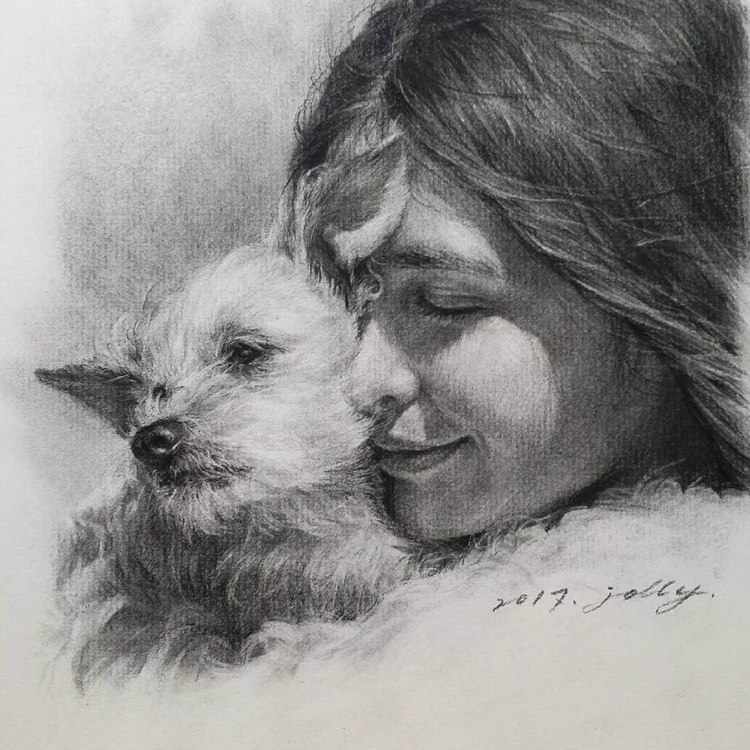 06-Jori-Charcoal-Portraits-of-Young-and-Old-plus-a-Clown-www-designstack-co