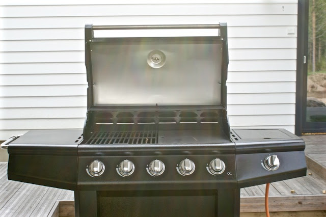 mustang, musta grilli, moderni piha