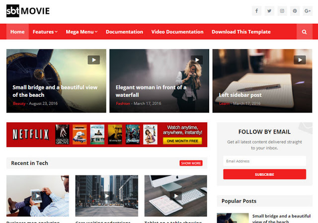 SBT Movie Blogger Template is a Responsive Free Blogger Theme best suitable for video Free Download SBT Movie Blogger Template