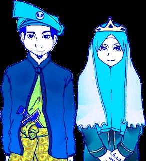 kartun gambar pasangan pengantin muslim dan muslimah