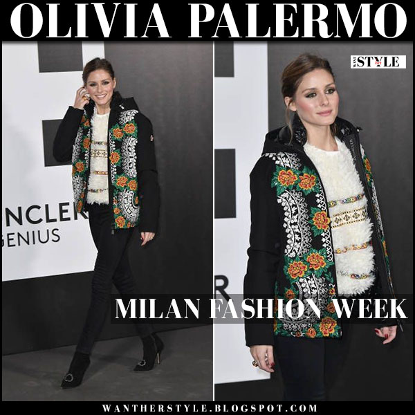 Olivia Palermo in black floral printed jacket, white sweater and black jeans moncler genius show february 20
