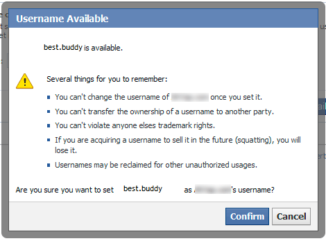 Facebook username available