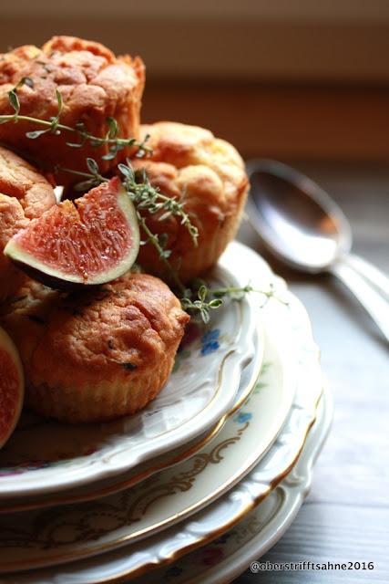 Muffins mit Ziegenkäse, Feigen und Thymian