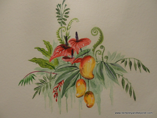 painted tropical detail at Cornell Hotel de France in San Francisco