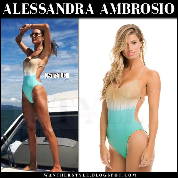 Alessandra Ambrosio in one piece aqua swimsuit ale by alessandra what she wore beach