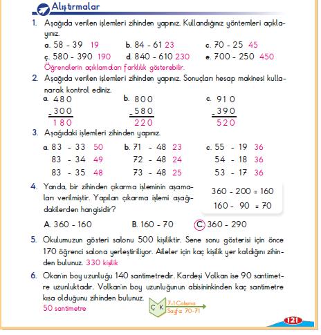 3. Sınıf Berkay Yayınları Matematik Ders Kitabı 121.Sayfa Zihinden Çıkaralım