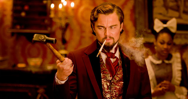 Film still of Leonardo DiCaprio plays Calvin Candie in Django Unchained