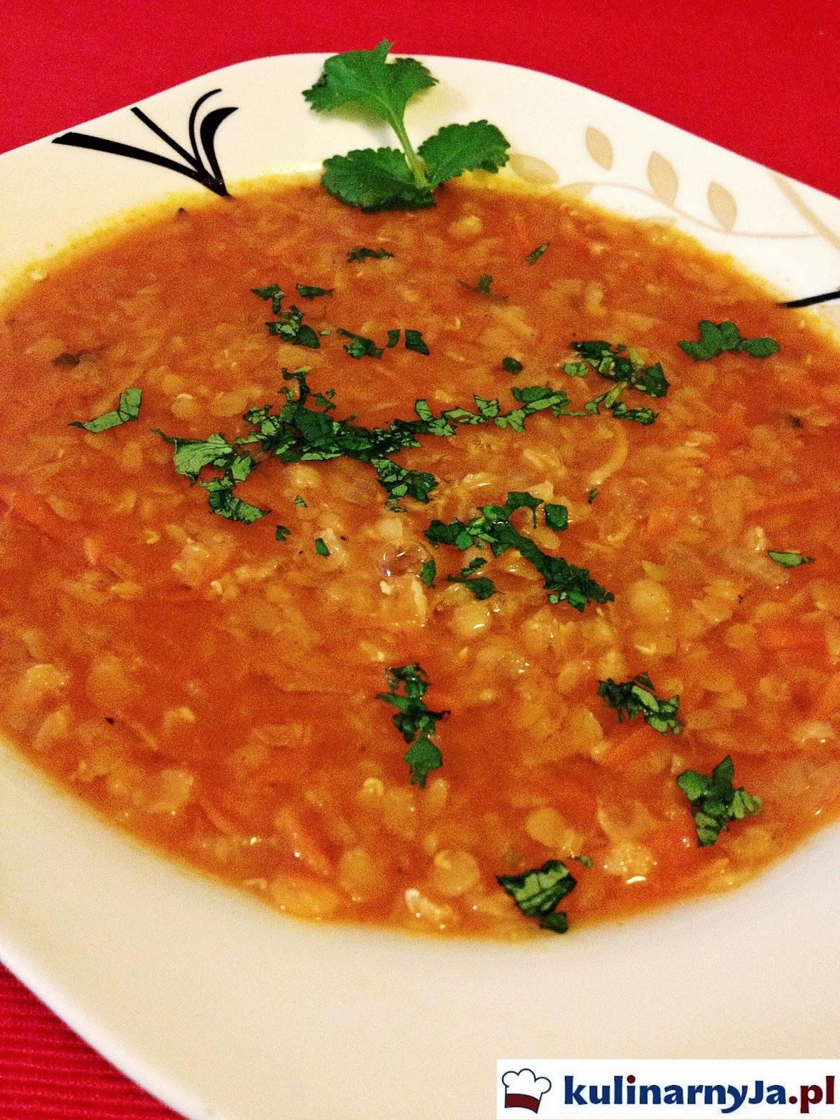 Zupa z czerwonej soczewicy z kolendrą