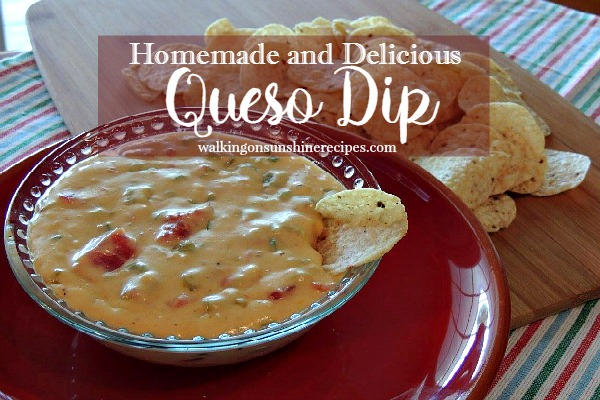 A delicious and easy recipe for Homemade Queso Dip.  Your family will love this dip recipe and you will love knowing there's no fake cheese!