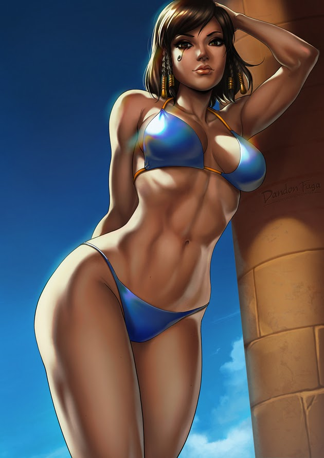 hot pharah with sexy abs
