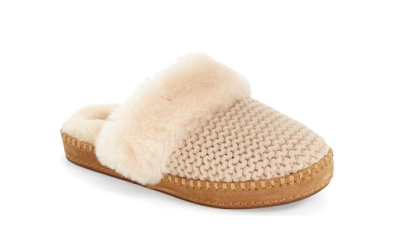 Knitted rubber sole comfortable beige ivory slippers shearling stitched