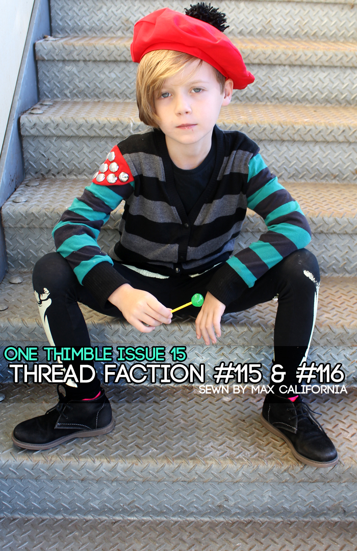 Thread Faction #115 & #116 Review for One Thimble Issue 15: beret & cardigan (for boys!) • www.max-california.com