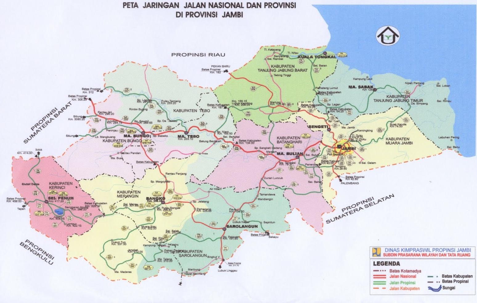 Peta Jalan di Provinsi Jambi