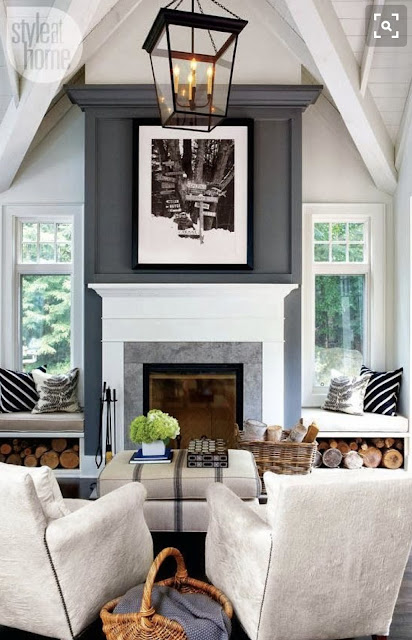 Style at Home family room with dark fireplace
