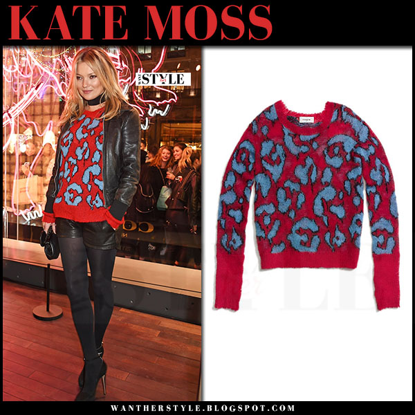 Kate Moss in red leopard print sweater and black leather shorts coach what she wore