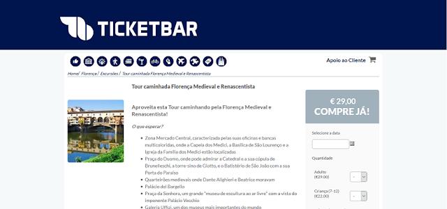 Ticketbar para ingressos para um tour caminhada por Florença